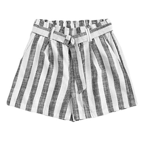 - Womens Casual Wide Leg Shorts Striped Elastic Waist Soft Summer Beach Short Pants Breathable Stretch Loose Lounge Bottoms with Belt