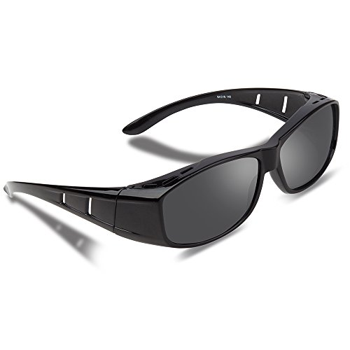 Ewin O01 Polarized Overglasses, Prescription Fit-over Sunglasses Unisex Styles for Driving, Cycling Fishing and All Outdoor Activities (Black)