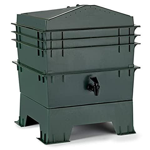 Chef's Star 3-Tray Stackable / Expandable Recycled Plastic Odorless Worm Composter - Red Worms For Compost