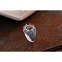 Men's Ring Blank (13x13mm Round Blank) Adjustable Thai Sterling Silver Ring Base Unique Design Talon Shape Ring Setting R652B