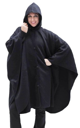 Alpaca Hooded Wool Cloak Cape, Black