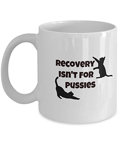 Recovery Isn't For Pussies Drug or Alcohol Recovery Coffee or Tea Mug Great Gift for Family or Friend in Rehab, Friend w Alcohol, Drug, Food, Sex Addi by Bear and Deer Gear