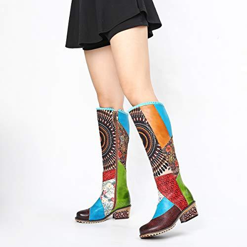 Chaussures Bottes Colorees Gracosy Hautes Femmes Cuissardes Marron Cuir qtddwFOa