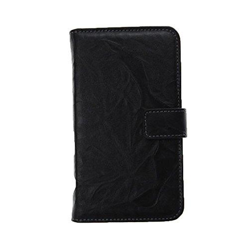 Xqisit Leder Wallet Case, Farbe:Schwarz, Modellauswahl:Samsung Galaxy S4