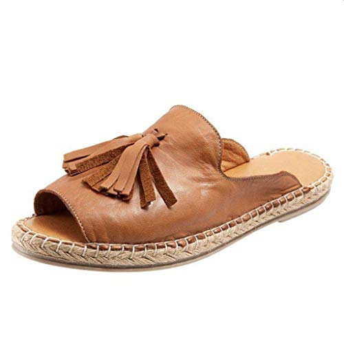 JUSTWIN Women Ladies Fashion Flat Casual Slip On Peep Toe Pure Color Shallow Mouth Casual Fringed Fish Mouth Slippers Brown (Iron Art Dummy Strap)