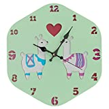 Wood Wall Clock, Silent Non-Ticking Decorative Cartoon Wall Clock, Imaginative Style Good for Living Room/School/Children's Room, Gifts for Child Birthday (Alpaca-82)