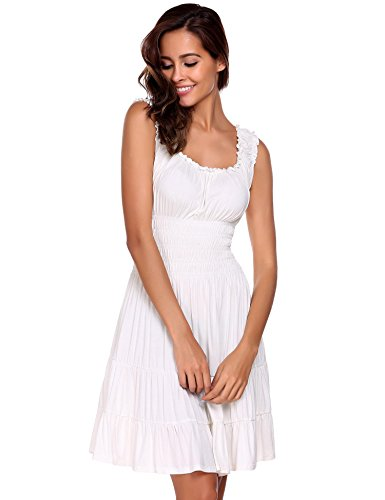 ELESOL Women Pleated Sleeveless Square Neck Fit and Flare A-Line Mini Dress White - White Smock Dress