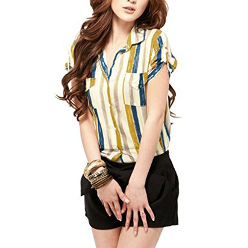 Button Cotton Striped Front Shirt - Womens Casual Short Sleeve Roll Up Cuff Pocket Front Stripes Button Down T Shirt (X-Small,Yellow)