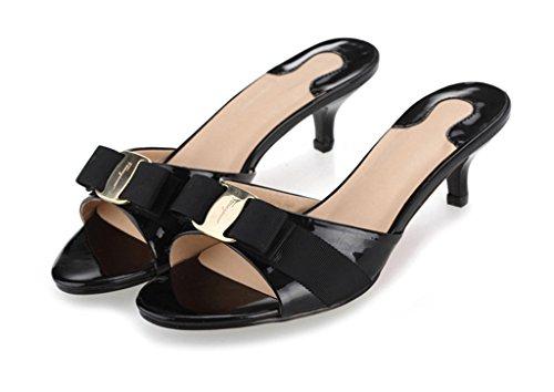 SUNROLAN SLL-LY-6063-hei-37 April Women's Slide Heels Stiletto Pump Sandal Peep Toe Bow Accent Slide Dress Sandals Black US ()