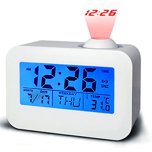 Projection Alarm Clock, Battery Operated Alarm Clock with Snooze for Bedrooms for Kids, LED Digital Clock Display Temperature Calendar, Voice Activated Easy Set … (806)