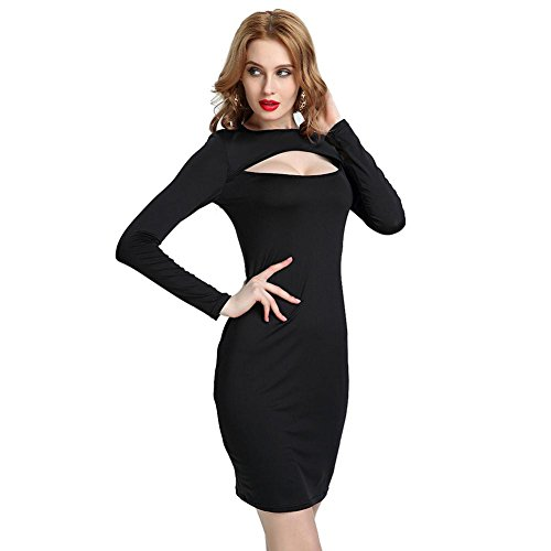 Women's Sexy Dresses Hollow Long Sleeves Night Club Party Evening Slim Skirt S-XXL , black , s from GJX