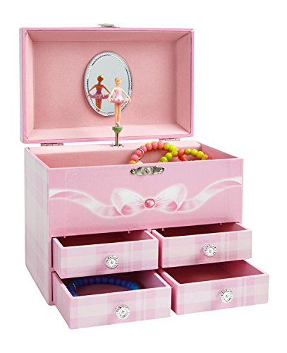 JewelKeeper Large Musical Jewelry Storage Box with 4 Pullout Drawers, Girl's Jewel Box,ÊPink and White Design, Swan Lake Tune