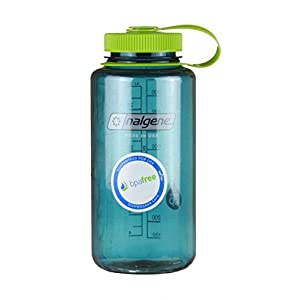 Nalgene Wide Mouth Bottle (Cadet w/ Green Lid, 1 QT)