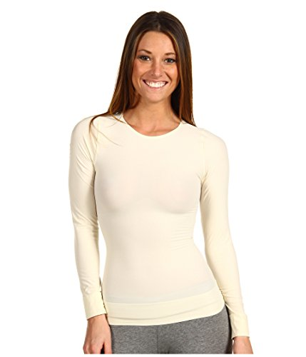 SPANX On Top and in Control Sophisticated Long Sleeve Crew 977 (Vanilla/Medium)