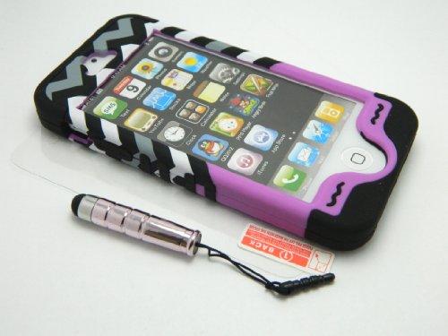 New 3-piece Chevron Stripes Anchor Impact Hybrid Combo Hard Case Cover Dark Soft Skin for Iphone 5 5s + Screen Guard & Stylus Pen