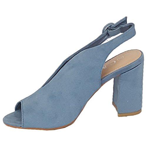 Boucle Bleu Femmes Fête Daim MCM Ouvert Look Escarpin Femmes 7721 Pour Sandales Bloque Mules Bout PwqBF