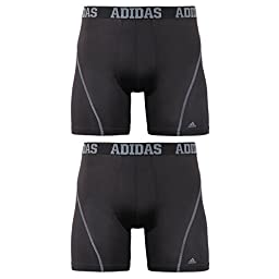 adidas Men\'s Sport Performance ClimaCool Boxer Brief (Pack of 2), Black/Thunder and Black/Thunder, Medium/Waist Size 32-34