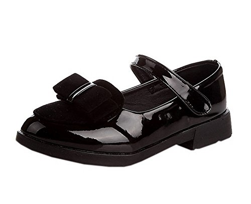 Patent 1 Leather (Vokamara Girls Suede Bow Patent Leather Mary Jane Uniform Shoes Black 33)