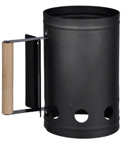 Kohlestarter Metall - schwarz lackiert - stabiler Holzgriff und Hitzeschild