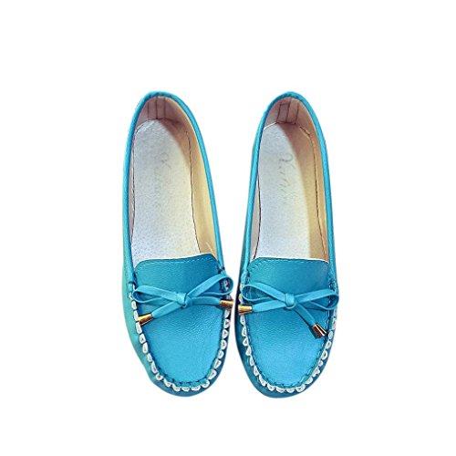 Printemps Bleu Eté Casual Cuir Femmes Noeud Flats Mode Souple En Qinmm Mocassins Flat Papillon Chaussures Confort Gliss wqtS1gI