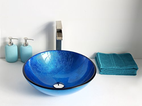 Tempered Glass Vessel Sink - Lustrous Blue - Clavier Series LS-AZ027 - ANZZI by ANZZI (Image #1)