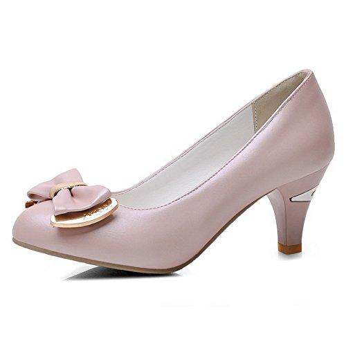 Odomolor Damen Ziehen auf Rund Zehe Mittler Absatz PU Leder Rein Pumps Schuhe Pink