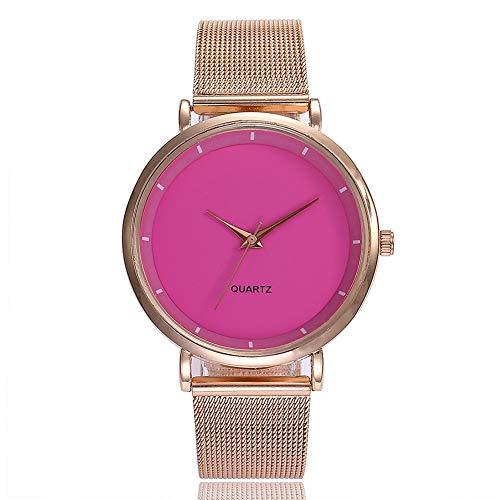 Brrnoo Fashion Mesh Strap Women Female Watch Round Dial Quartz Wristwatch(Rose)