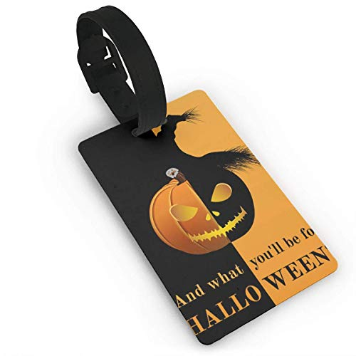 (OJferverywell Halloween Pumpkin Travel Luggage Suitcase Labels ID Tags Business Card Holder Size 2.2 x 3.7)
