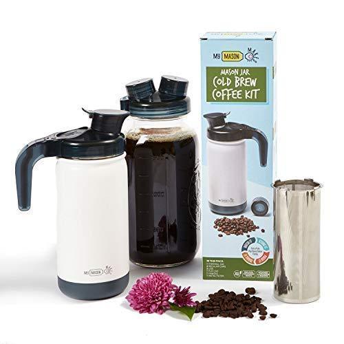 My Mason Makes - Cold Brew Coffee Maker Kit - Make Great Iced Coffee or Tea at Home - Professional Quality System with Insulated Jar to Keep Your Cold Brew Perfectly Cold