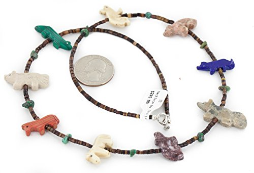 Carved Fetish $250 Retail Tag Authentic Navajo Made by Charlene Little Silver Natural Turquoise Heishi Multicolor Stones Native American Necklace