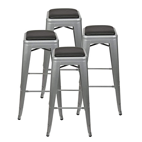 Set of 4-24 Inches Metal Stools High Backless – Indoor Outdoor Barstool with 4 Square Seat Cushions – Morden Stackable Metal Chairs (Grey Barstool+Black Cushion) For Sale