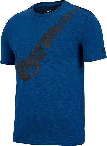 (Nike Mens Dry Slub Swoosh Graphic T-Shirt (Gym Blue/HTR/White, Large))