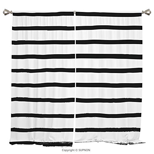 Rod Pocket Curtain Panel Thermal Insulated Blackout Curtains for Bedroom Living Room Dorm Kitchen Cafe/2 Curtain Panels/108 x 90 Inch/Modern,Abstract Minimalist Horizontal Paintbrush Stripes Bands Sim - Cup Prairie Rose