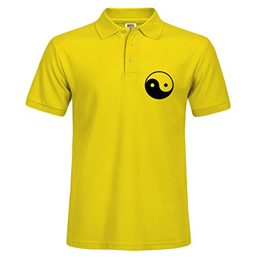 Corduroy Basic (Newest Men Casual Slim Fit Yellow Short Sleeves Basic Polo Tee Shirts Yingyang ( Vector Graphic ) Size Xxx-large)