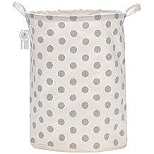 """Sea Team 19.7"""" Large Sized Waterproof Coating Ramie Cotton Fabric Folding Laundry Hamper Bucket Cylindric Burlap Canvas Storage Basket with Stylish Grey Polka Dot Design"""