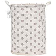 Sea Team 19.7  Large Sized Waterproof Coating Ramie Cotton Fabric Folding Laundry Hamper Bucket Cylindric Burlap Canvas Storage Basket with Stylish Grey Polka Dot Design
