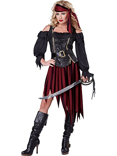 California Costumes Women's Queen Of The High Seas Sexy Pirate Swashbuckler Buccaneer, Black/Burgundy, Large ()
