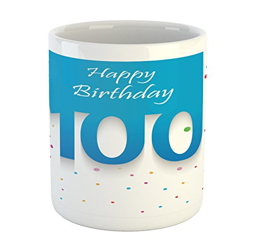Ambesonne 100th Birthday Mug, Birthday Party Wish for 100 Years Old with Colorful Dots Happiness Image, Printed Ceramic Coffee Mug Water Tea Drinks Cup, Multicolor