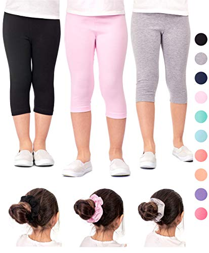 Capri Spandex Tie - DEAR SPARKLE Girls Capris 3 Pack Cotton Solid Colors + Matching Hair Ties | Sizes 3-10 (4-5, Black/Grey/Pink)