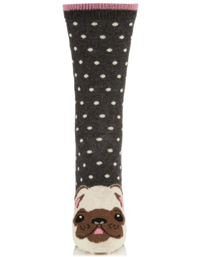 Accessorize Womens Janey Pug Face Sock
