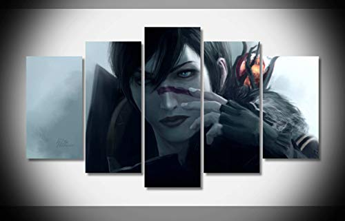 My Canvas Art 5pcs Dragon Age 2 Game Girl Character Art Staff Artwork Prints for Living Room Home Decoration Framed Ready to Hang (Dragon Age 2 Best Staff)