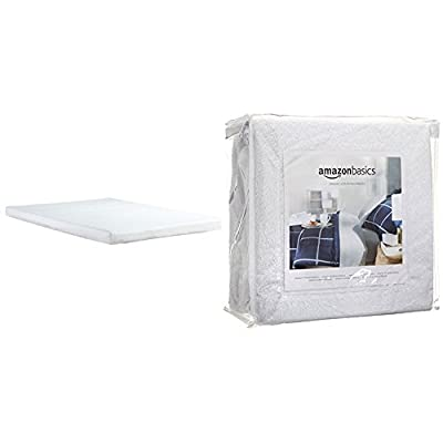Classic Brands Memory Foam Replacement Sofa Bed 4.5-Inch Mattress, Full with AmazonBasics Hypoallergenic Vinyl-Free Waterproof Mattress Protector, Full