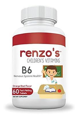Renzo's Vitamins B6, Children's Sugar-Free Fast Melting Tablets, All Natural Orange Flavor, Nervous System Health Supplement for Kids