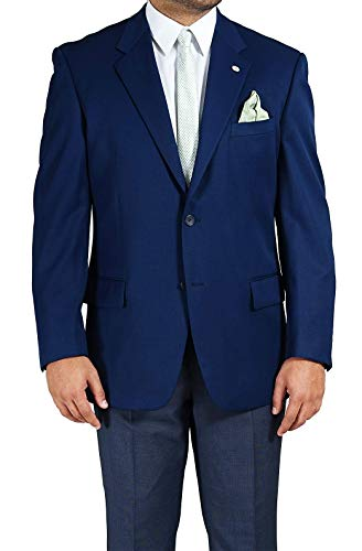 Men's 2 Buttons Wool Gabardine Jacket, Navy (French blue)