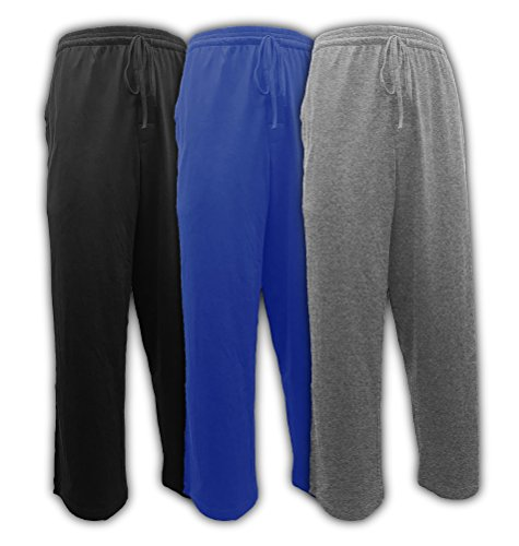 Andrew Scott Men's Pack of 3 Soft & Light 100% Cotton Drawstring Yoga Lounge & Sleep Pant (3 Pack- Black/Denim/Heather Gray, Large)