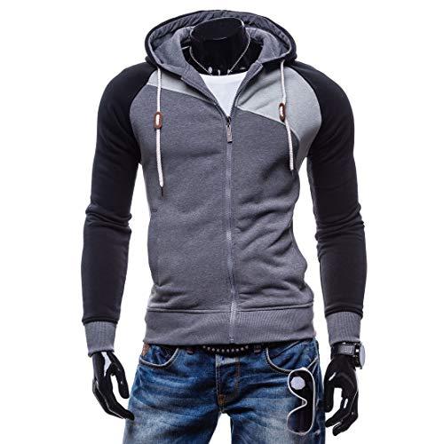 Foncé Sport À Unisexe Hommes Capuche Hoodies Longue Tops Vêtements Sweater Pull Gris Zippé Manche Sweat Homme Sweatshirt Bleu De APTwdP