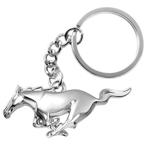 Metal Keychain Ring Key Chrome (ESMPRO for Ford Mustang 3D Pony Chrome Metal Key Chain Car Logo Keychain Keyfob Keyring)