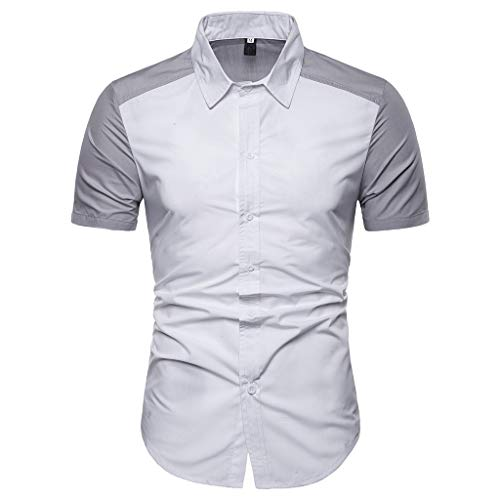 Stoota Fashion Men's Patchwork Casual Slim Fit Shirts Short Sleeve Stand Collar Button Down Shirt Top Blouse White from Stoota