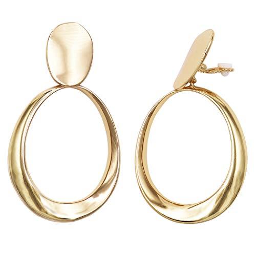 Rosemarie & Jubalee Women's Statement Metal Disc Oval Twist Hoop Dangle Clip on Style Earrings (Gold Tone)