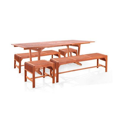 Table Teak Rectangular Dining Set (Vifah V232SET29 5 Piece Dining Set with Extension Table and Backless Benches)